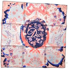 Christian Dior Silk Square Scarf Pink Pearls Royal Blue