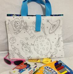 Activity Busy Carry Bag in Space Colour-In Fabric by RectoryCrafts