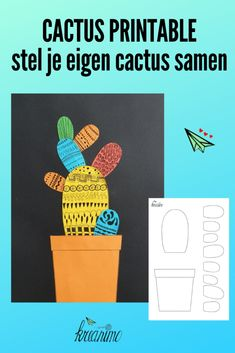 Cactus printable: Cut, assemble, paste and draw patterns. - Kreanimo - With this cactus printable you can compose your own cactus. Craft with children a nice, original ca - Cactus Drawing, Watercolor Cactus, Projects For Kids, Crafts For Kids, Art Projects, Instrument Craft, Free Kids Books, Unicorn Bath Bombs, Cactus Photography