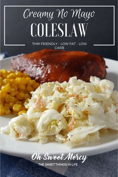This Creamy No Mayo Coleslaw is perfect for the Trim Healthy Mama at picnics, potlucks or just any old time. Oh Sweet Mercy.