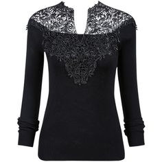 SheIn(sheinside) Black V-Neck Crochet Ribbed Sweater ($21) ❤ liked on Polyvore