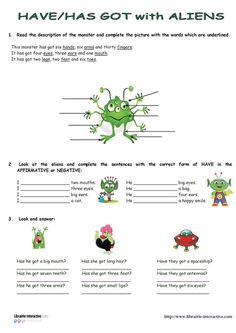 Librairie-Interactive - Monsters - Have/Has got English Games, English Tips, English Activities, Language Activities, English Class, English Lessons, Teaching English, Learn English, English Grammar Rules