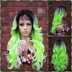 Green Wigs Lace Frontal Hair Extensions Brazilian Hair Extensions 360 Lace Frontal With Bundles Sew In White Girl Weave Curly Half Wig, Curly Lace Front Wigs, Straight Lace Front Wigs, Short Hair Wigs, Half Wigs, Green Wig, Ombre Green, Green Lace, Neon Green