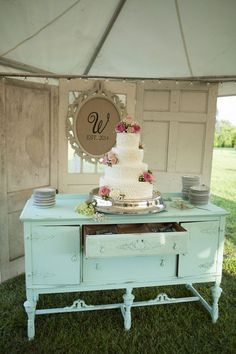 Wedding cake displayed on vintage dresser / shabby chic wedding / Mandy Owens Photography