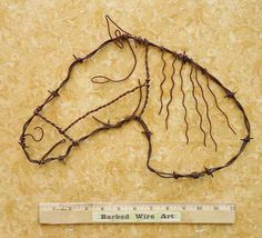 Neigh,canter get any better than this. Barb Wire Crafts, Metal Crafts, Western Crafts, Rustic Crafts, Horseshoe Crafts, Horseshoe Art, Chicken Wire Art, Horse Head Wreath, Barbed Wire Art