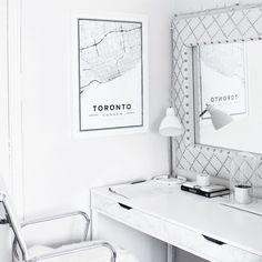 Map poster of Toronto, Canada. Print size 50 x 70 cm. Custom black and white map posters online. Mapiful.com.