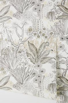 Flowering Desert Wallpaper by Anthropologie in Black, Wall Decor
