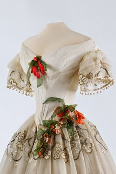 Evening/Ball gown, circa 1850, via In the Swan's Shadow: