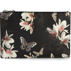 Givenchy floral print clutch (1.395 BRL) ❤ liked on Polyvore featuring bags, handbags, clutches, malas, accessories, black, floral print handbags, multi color handbag, black purse und black clutches