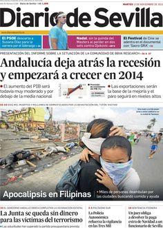 Los Titulares y Portadas de Noticias Destacadas Españolas del 12 de Noviembre de 2013 del Diario De Sevilla ¿Que le pareció esta Portada de este Diario Español?
