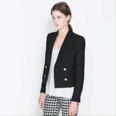 {Zara} Basic Black Blazer with Gold Buttons Professional black blazer with beautiful gold buttons. Double breasted. Never worn. Fully lined, 100% Acetate. Outer shell is 66% Polyester, 33% Wool, 1% Acetate. Dry clean only. Like new condition! Offers always welcome! Zara Jackets & Coats Blazers