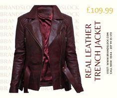 Brandslock Ladies Womens Genuine Leather Jacket Trench Mid Length Designer