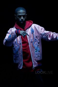 Big Sean wearing Gucci Embroidered Silk Bomber Jacket