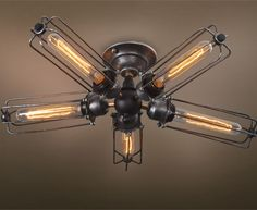 Westmenlights Cottage Steampunk Chrom Ceiling Fittings 5 Lights Hardwire Cage Ceiling Lamp HUREL