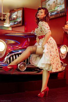Pinup Fashion: beautiful dress and car.