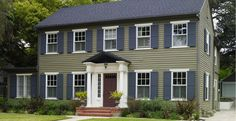 colonial exterior paint colors behr houses trim siding inspiration grey shutters sage exteriors painting popular combinations colours dark stone door