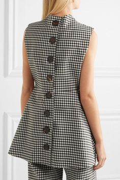 A.W.A.K.E. - Jellychess Fluted Gingham Woven Top - Black - FR36