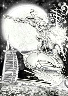 Silver Surfer by Claudio Castellini* Batman Comics, Anime Comics, Comic Book Characters, Comic Books Art, Silver Surfer Comic, Galactus Marvel, Superhero Villains, Comic Pictures, Fantastic Art