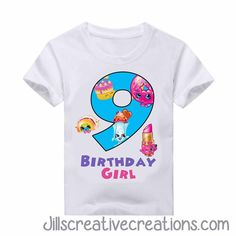 Emoji T-Shirt, Birthday Girl Toddler Birthday Themes, 10th Birthday Parties, Girl Birthday, Birthday Ideas, Emoji Birthday Shirt, Birthday Shirts, Shopkins T Shirt, Shopkins Bday, American Girl Parties