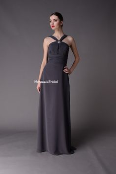 Long Chiffon Charcoal Bridesmaid Dress Bodice by MermaidBridal, $136.99