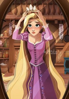 Rapunzel wearing her crown tiara without her knowing at first she is actually the lost princess Disney Princess Rapunzel, Disney Princess Drawings, Tangled Rapunzel, Disney Tangled, Disney Drawings, Film Disney, Disney Fan Art, Rapunzel And Eugene, Modern Disney