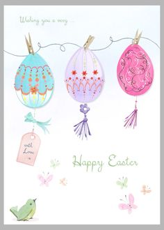 Victoria Nelson - Easter Eggs On String Copy Washi, Easter Drawings, Easter Paintings, Easter Illustration, Bunny Drawing, Easter Wallpaper, Xmas Wreaths, Coloring Easter Eggs, Frases