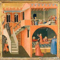Ambrogio+Lorenzetti+-+Der+Heilige+Nikolaus+erweckt+einen+Knaben,+den+der+Teufel+von+der+Festtafel+weggelockt+und+getötet+hatte
