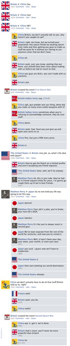 Facebook News Feed History of the World > Opium Wars History Jokes, Ap World History, History Of Japan, American History, Funny History, Facebook News, College Humor, Hetalia, Fun Facts