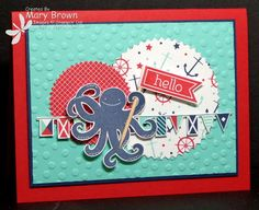 Stamps: Sea Street Perfect Pennants Paper: Whisper White, Real Red, Night of Navy, Coastal Cabana, Maritime dsp Ink: Night of Navy, Real R...
