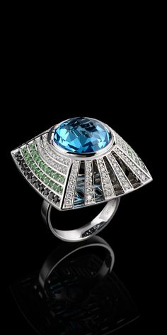 Master Exclusive Jewellery, topaz, diamonds and emeralds ring from Solo collection