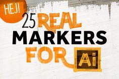 25 Real Marker for Illustrator