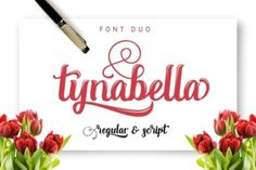 http://Tynabella, a modern calligraphy font packed with alternates and swashes.
