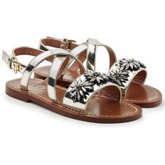 Marni Embellished Leather Sandals (16,510 THB) via Polyvore featuring shoes, sandals, silver, embellished sandals, silver metallic shoes, strappy shoes, genuine leather shoes и shiny leather shoes
