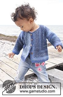 Baby Knitting Patterns Jacket Tamzyn / DROPS Baby – Knitted Jacket with Kraus Ribs for Babies and Children … Baby Knitting Patterns, Baby Sweater Patterns, Knitting For Kids, Baby Patterns, Free Knitting, Baby Cardigan Knitting Pattern Free, Knitted Baby Cardigan, Stitch Patterns, Tuto Tricot