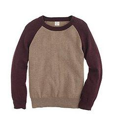 Boys' cotton-cashmere baseball sweater