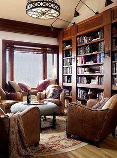 Dark wood custom home library pic