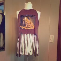 Hand cut Jimi Hendrix top fringe Can also be a cool bathing suit cover up. Cut from a men's large Tops