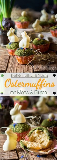 Ostermuffins mit Moos und Blüten / Easter muffins with moss and flowers – BACKEN / BAKİNG Desserts Ostern, Easter Cupcakes, Easter Recipes, Easter Eggs, Bakery, Vegan Recipes, Food And Drink, Sweets, Meals