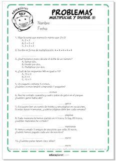 Fichas GRATIS para imprimir con problemas de multiplicar y dividir. Para niños y niñas de 7 a 9 años.