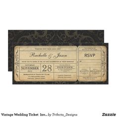 Vintage Wedding Ticket  Invitation with RSVP 3.0 60% off