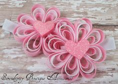 Valentines Day Bows Light Pink and White