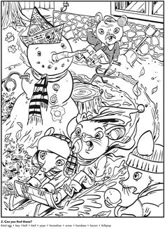 colouring in page sample from animal antics hidden pictures via dover publications s