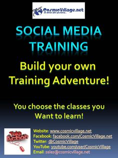 Social Media Training - Build your own Training Adventure! No need to attend classes or learn about what you already know. Build your own Social Media Training Curriculum and attend classes in a time that suits you and your budget. For only $50 for 50 minutes! See More: http://bit.ly/zdyn7s