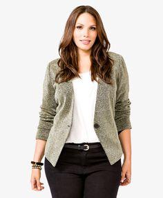 Metallic Knit Blazer | FOREVER21 PLUS - 2031557257