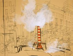 lucinda rogers drawing ink black and white red steam fifth avenue new york city street scene