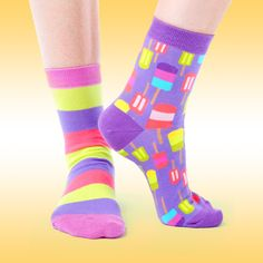 These anklets are zany, marvelous, and scented! These sweet socks have got plenty of pretty pastels - stripes and popsicle graphics - with shades of purple. Funky Socks, Crazy Socks, Cool Socks, Pretty Pastel, Ankle Socks, Shades Of Purple, Popsicles, Anklets, Tween