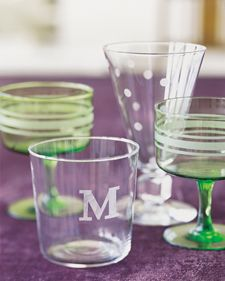 Etched Glass - Flea-market finds and dollar-a-glass specials can be transformed with monograms, stripes, and whimsical polka dots. All you need is etching cream (available at craft and art-supply stores), masking tape, and a steady hand to cut a template. Homemade Gifts, Diy Gifts, Homemade Breads, Etched Glassware, Handmade Gifts For Her, Martha Stewart Crafts, Art Supply Stores, Santas Workshop, Personalized Christmas Gifts