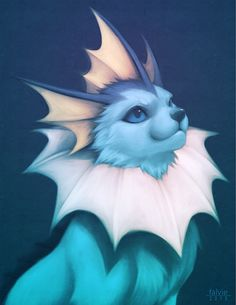 Vaporeon, the Bubble Jet Pokémon. Vaporeon love fresh, clean water and can make their bodies melt away into water as well.