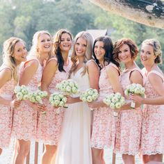 Pink and white lace bridesmaid dresses from Review Australia. Photo: Corbin Gurkin