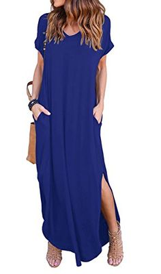 6d0244b7e38 GRECERELLE Solid V-Neck Pocket Loose Maxi Dress Royal Blu... https